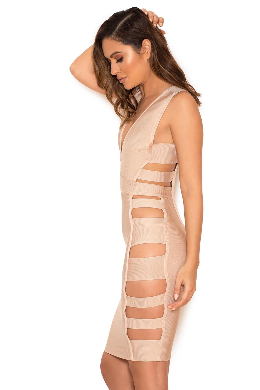 Fyne Girlz within clothing : bandage dresses : 'jansen' nude deep v side slash