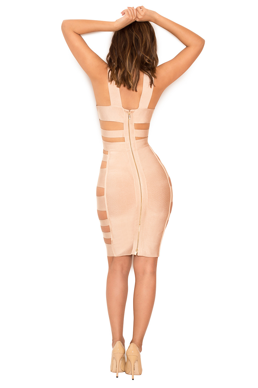 Fyne Girlz throughout clothing : bandage dresses : 'jansen' nude deep v side slash