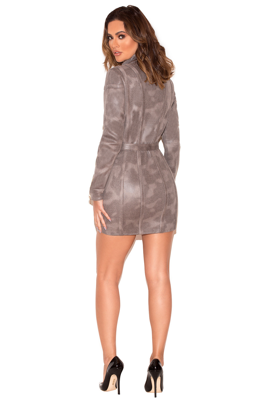 Clothing : Jackets : \'Jeran\' Grey Faux Suede Coat Dress