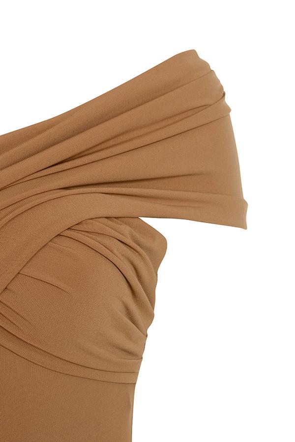5fd916b119 tan marle. View larger image. tan marle bodysuit. View larger image. Marle  Tan Off Shoulder Cross Bust Bodysuit marle ...