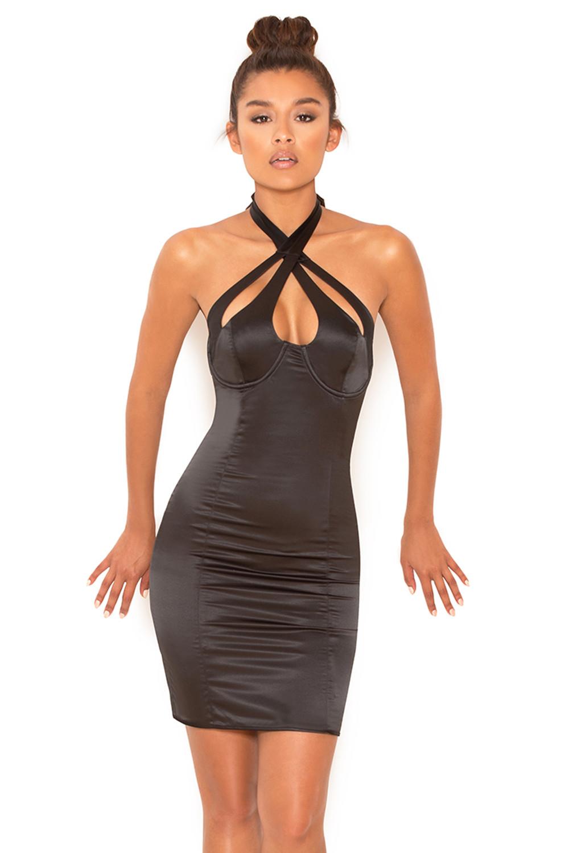 Black Satin Bustier Dress