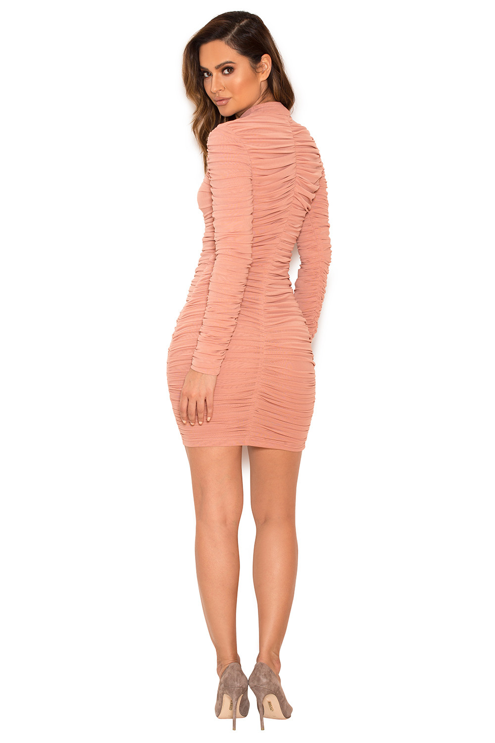 70cc5f435081 Clothing   Bodycon Dresses    Soleil  Dusty Pink Ruched Mesh BodyCon ...