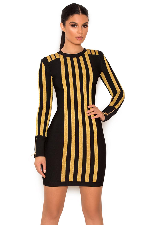 69fd839c3e2 Clothing   Bandage Dresses    Balthazar  Black and Gold Bandage Dress