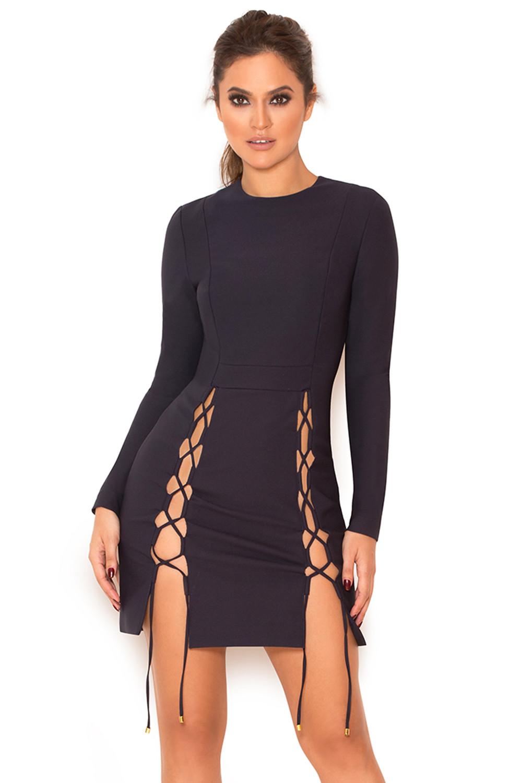 6d1509deba69 Clothing   Bodycon Dresses    Bellezza  Navy Lace Up Bodycon Dress