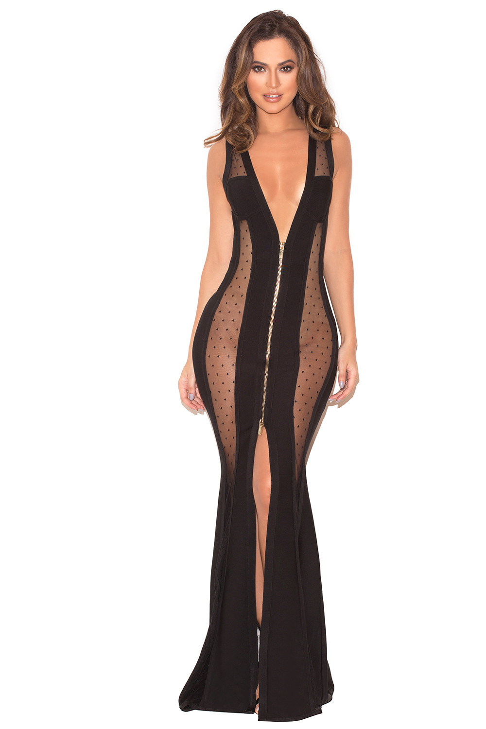 3b3238b47a4 Clothing   Max Dresses    Margeaux  Black Bandage and Mesh Maxi Dress