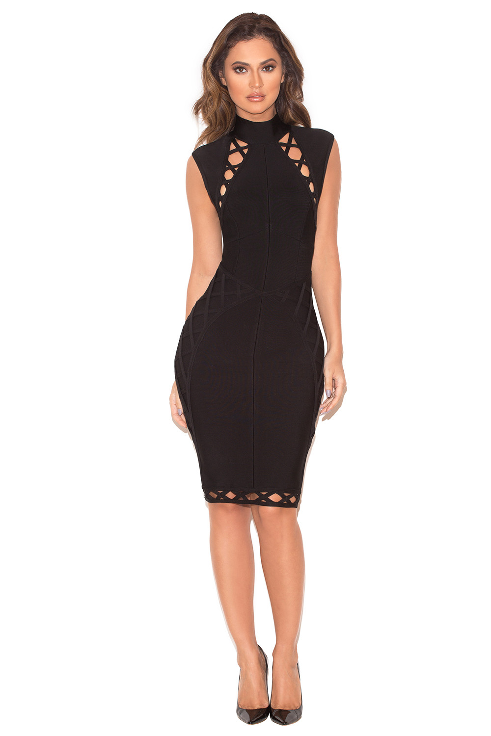 Clothing  Bandage Dresses  u0026#39;Sairau0026#39; Black Lace Up Detail Bandage Dress