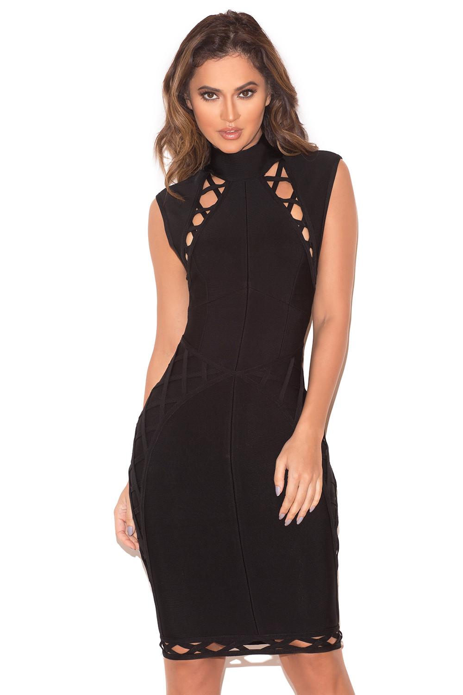 82444b4029cf8 Clothing : Bandage Dresses : 'Saira' Black Lace Up Detail Bandage Dress