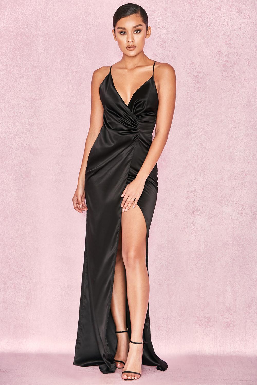 Clothing : Max Dresses : \'Fairuz\' Black Draped Satin Maxi Gown