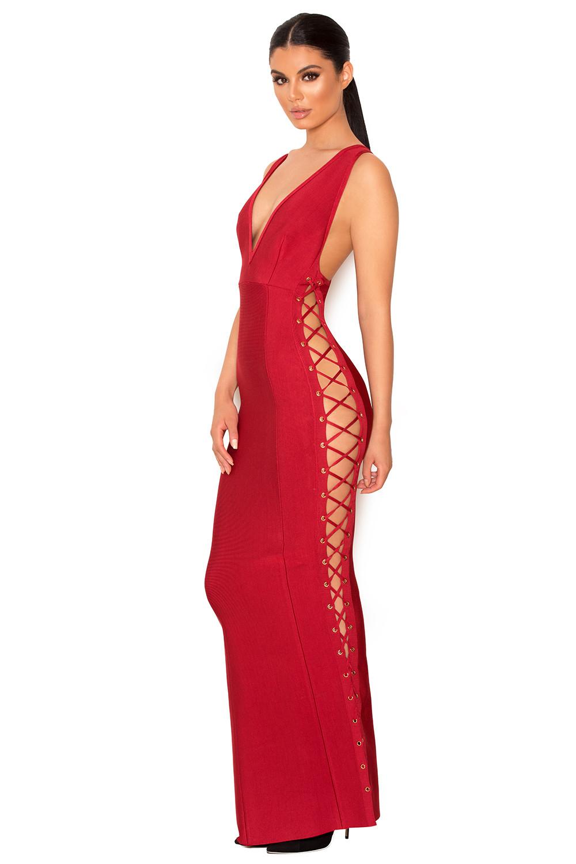 3d2d82790 Clothing : Max Dresses : 'Farera' Red Deep Plunge Neck Bandage Maxi ...