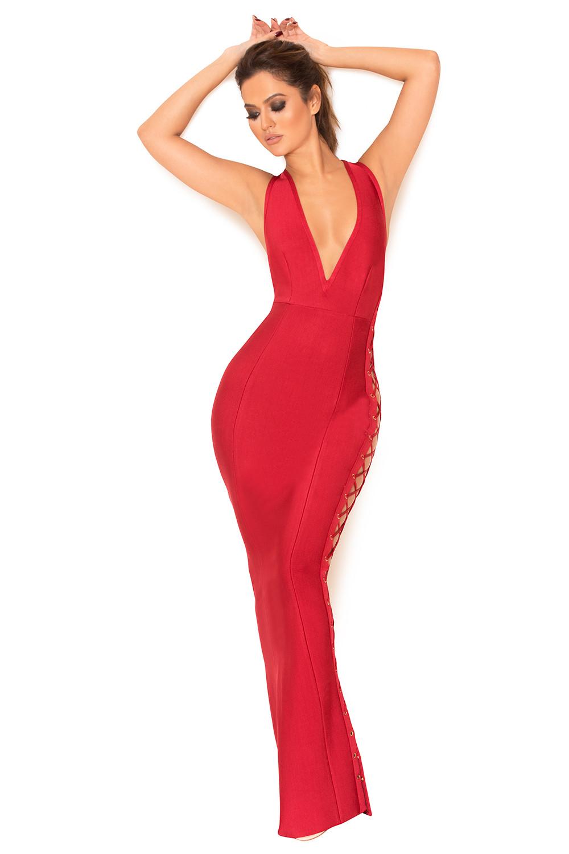 fb97cc8c2120 Clothing   Max Dresses    Farera  Red Deep Plunge Neck Bandage Maxi ...