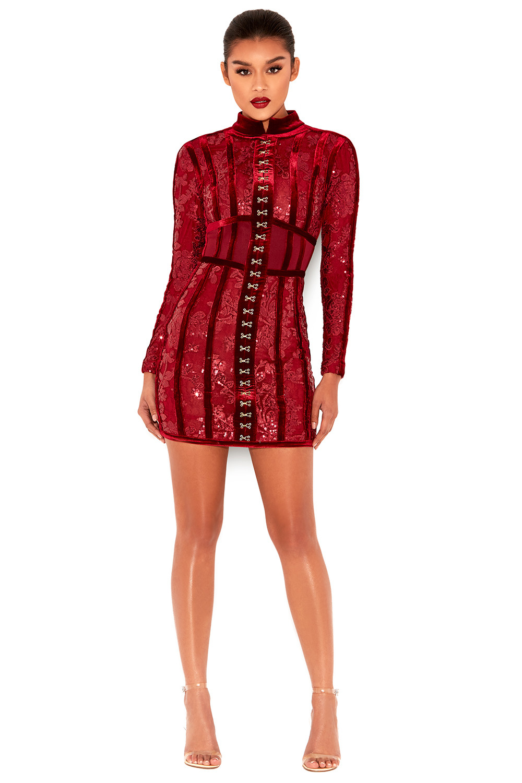 Deep red bodycon dress jill