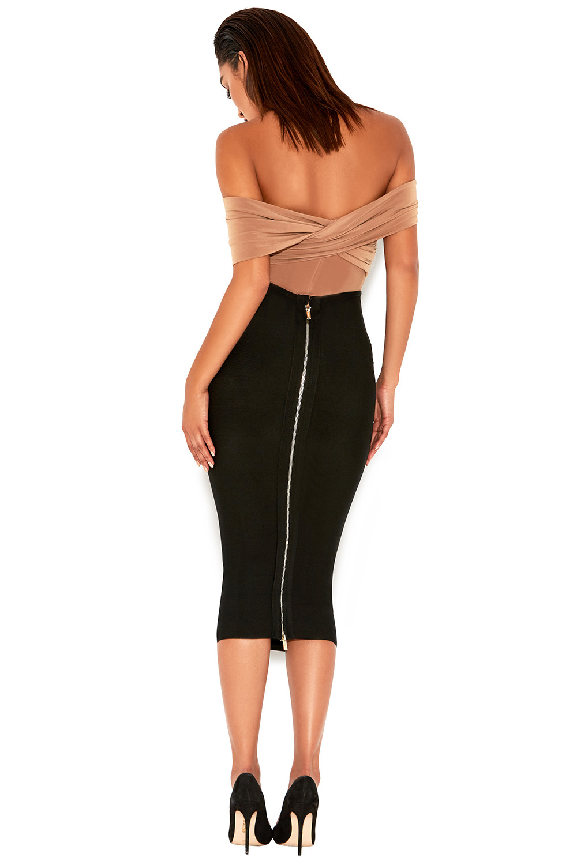 693a61c82c Clothing   Bodysuits    Marle  Tan Off Shoulder Cross Bust Bodysuit