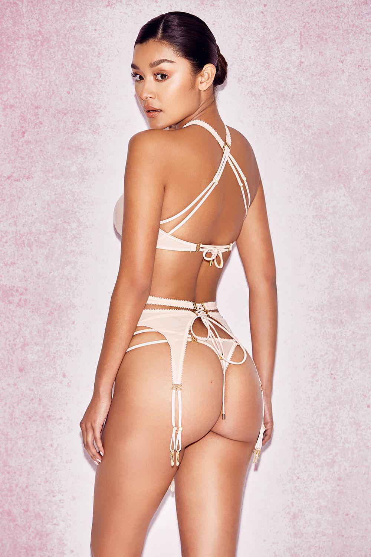 intimates : marina' nude mesh suspender