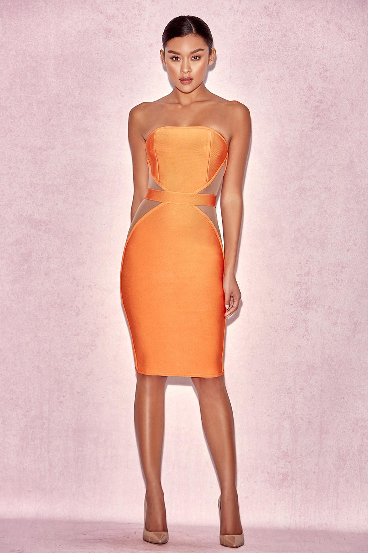Clothing : Bandage Dresses : 'Cascadia' Orange Strapless Bandage ...