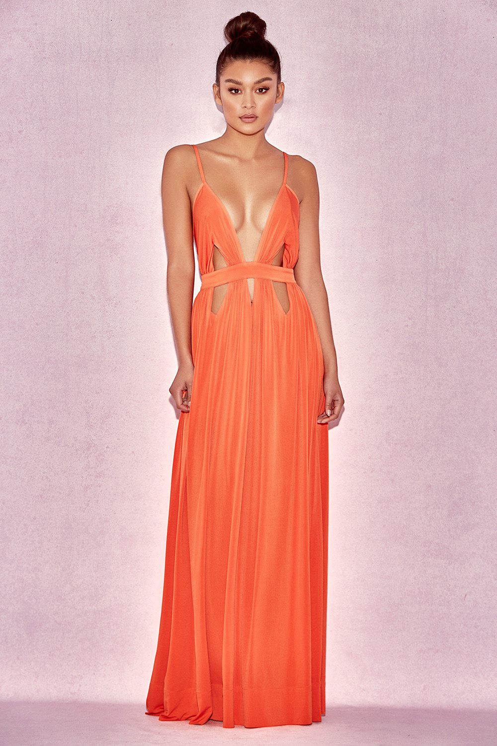 Clothing : Max Dresses : 'Ischia' Orange Deep V Maxi Dress