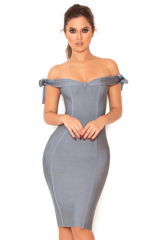 b48c6c1c7b46 Clothing   Bandage Dresses    Solaine  Slate Grey Off Shoulder ...