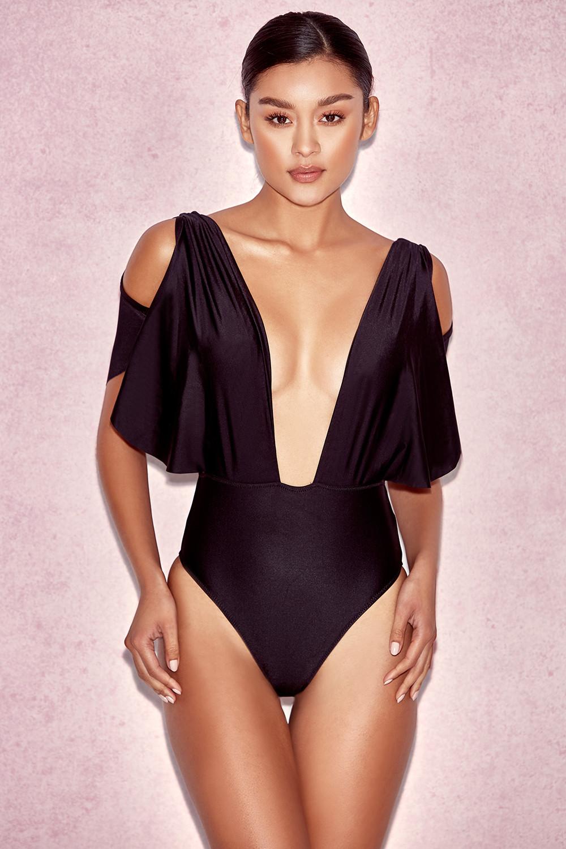 b31993ab2f6 Clothing : Swimwear : 'CouCou' Black Drape One Piece Swimsuit