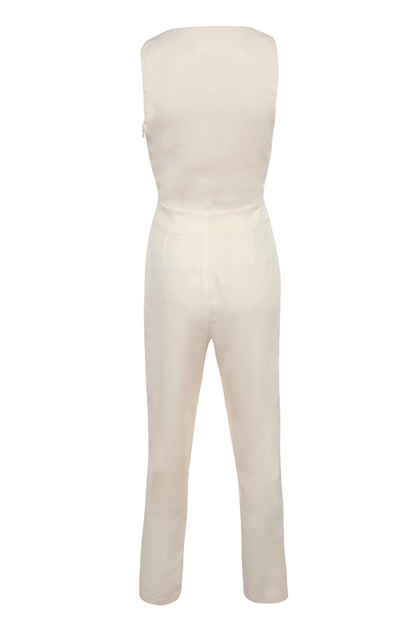 8003cb08ebf Clothing   Jumpsuits    Goya  Cream Crepe Knotted Front Jumpsuit