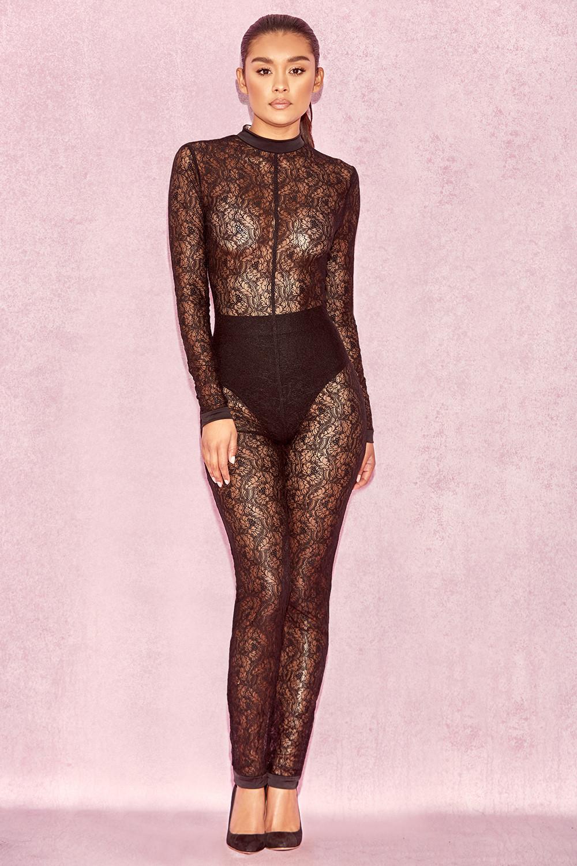 e5cb101c77e Clothing   Jumpsuits    Rudi  Black Sheer Lace Jumpsuit