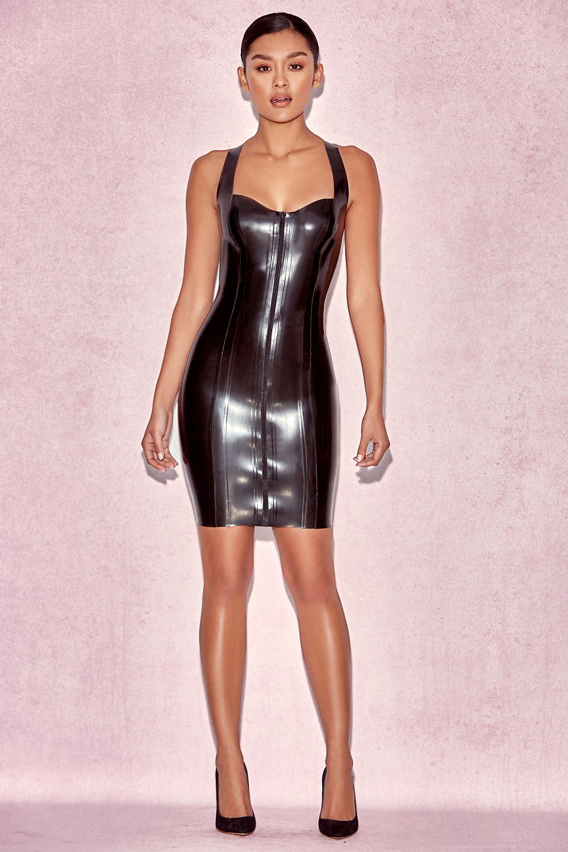Clothing : Bodycon Dresses : 'Tahira' Black Latex Racer ...