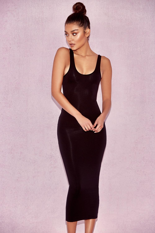 2202eefa1390 Clothing : Bodycon Dresses : 'Tomlin' Black Midi Length Vest Dress