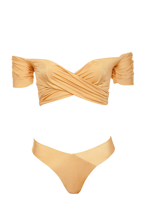 4a9f0f5b7f7af Clothing   Swimwear    Barcelona  Metallic Bronze Wrap Over Bardot ...