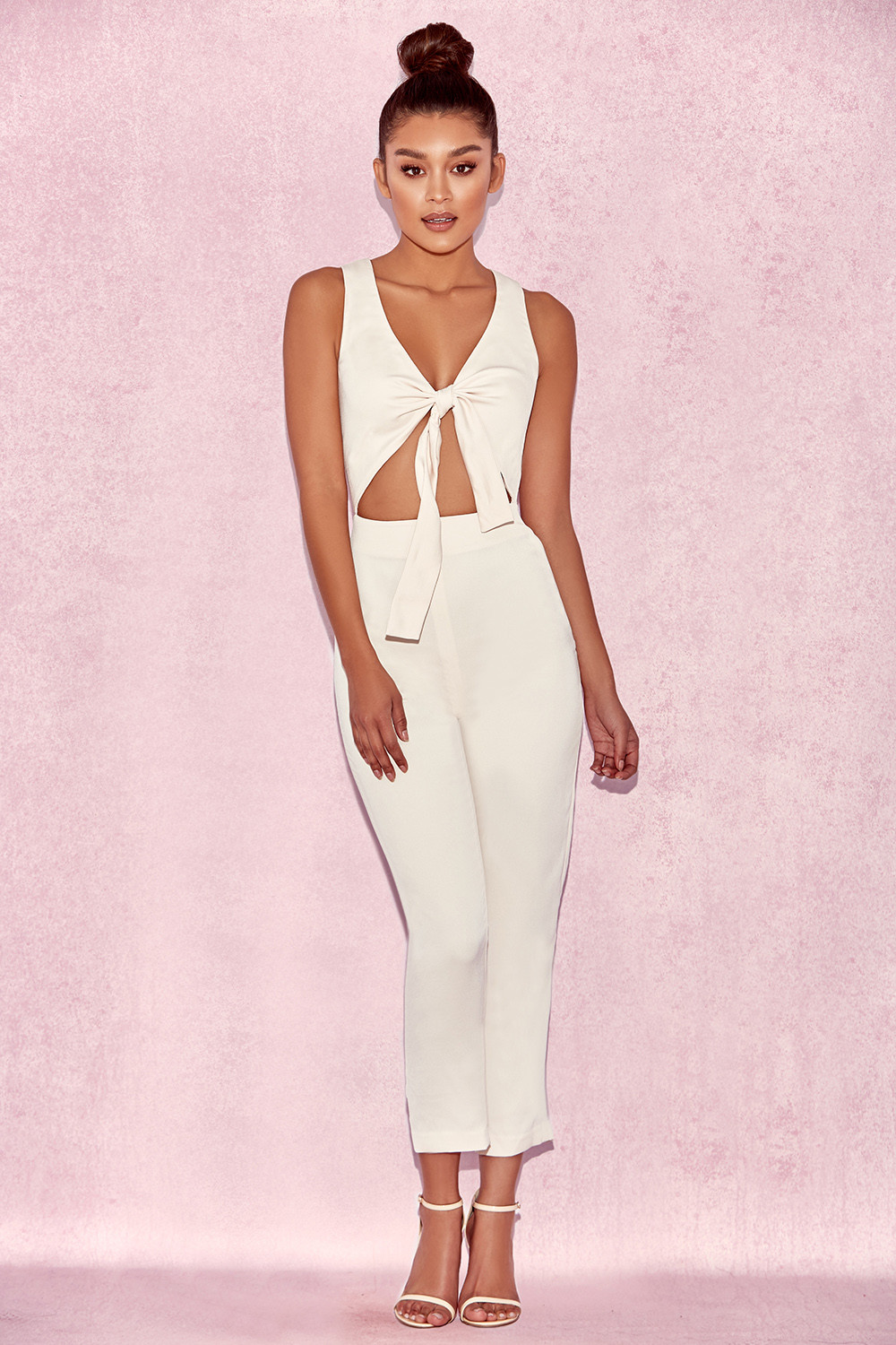 96dc98b9c5c Goya Cream Crepe Knotted Front Jumpsuit. View larger image. View larger  image