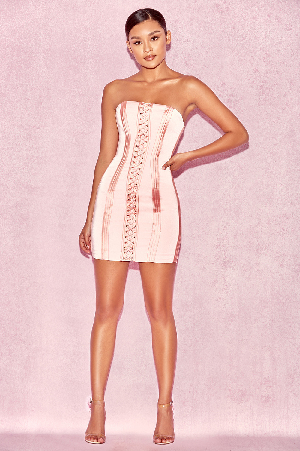Clothing : Bodycon Dresses : 'Surin' Rose Pink Strapless ...
