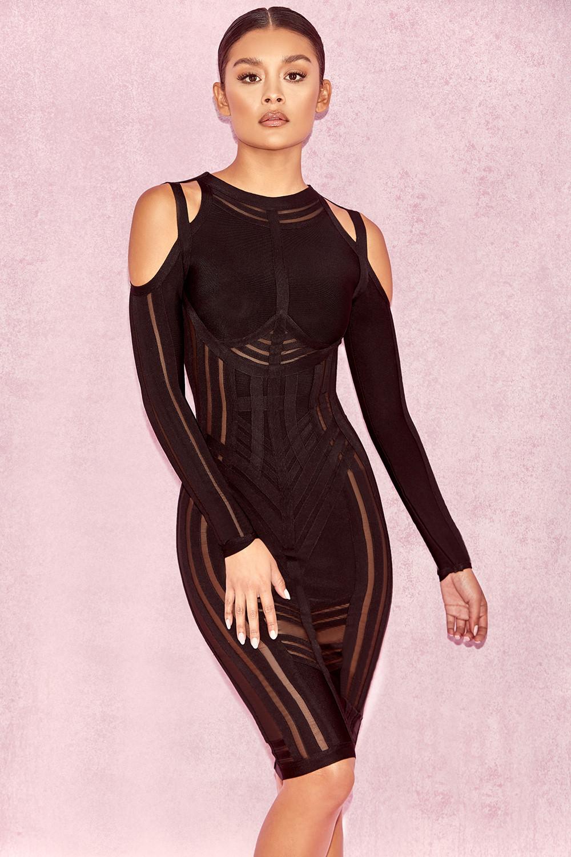 Clothing Bandage Dresses Madrina Black Bandage Cold
