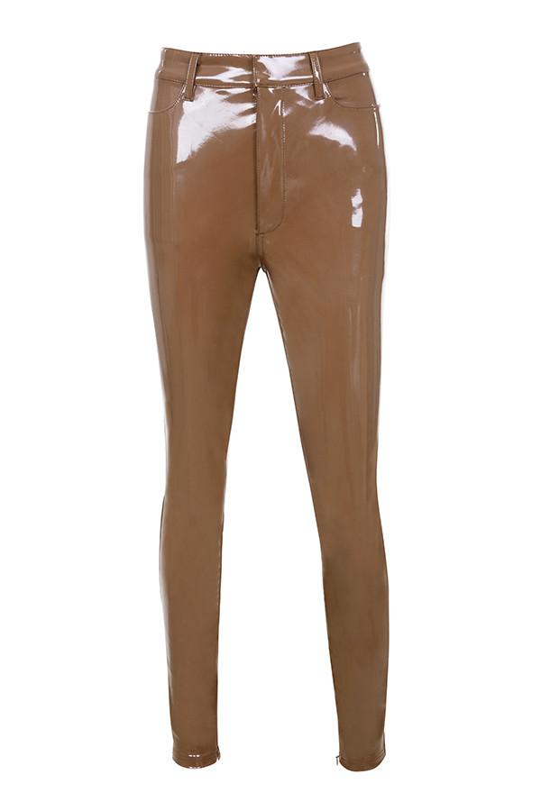 Clothing Leggings Haridan Coffee Patent Stretch