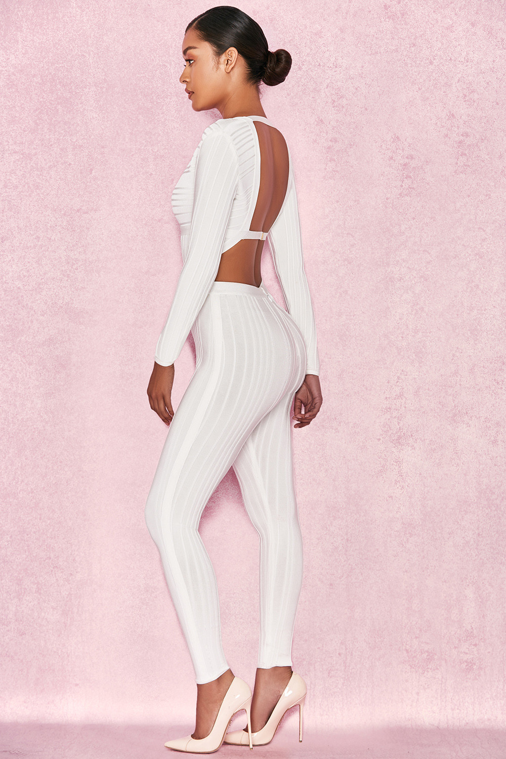 7f54b60d99b Clothing   Jumpsuits    Arya  White Plunge Neck Jumpsuit