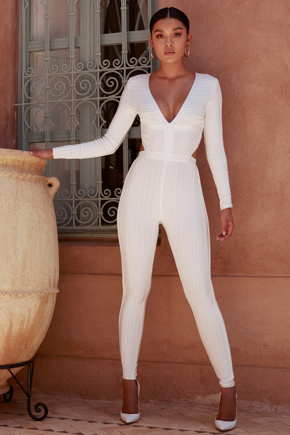 5d5d816cc504f Clothing   Jumpsuits    Arya  White Plunge Neck Jumpsuit