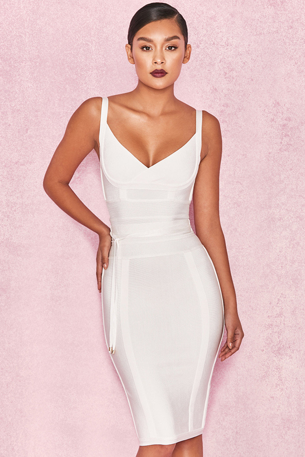 e8f041d1aa08 Clothing   Bandage Dresses    Belice  White Tie Waist Bandage Dress