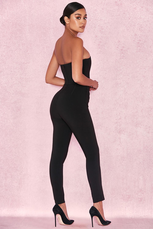 Clothing Jumpsuits Leonida Black Strapless Jumpsuit
