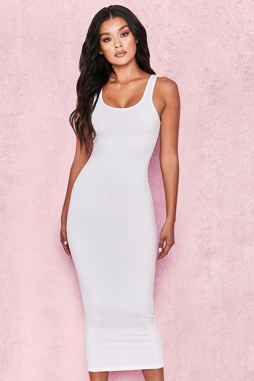 b20b53297687 Clothing : Bodycon Dresses : 'Tomlin' White Midi Length Vest Dress