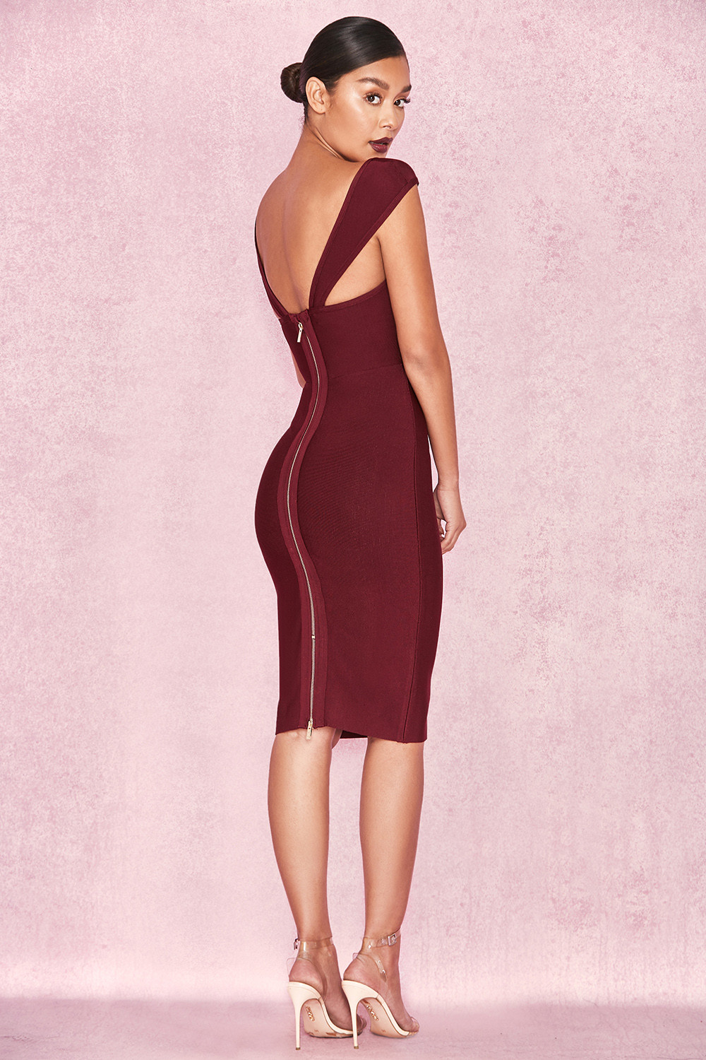 Clothing : Bandage Dresses : 'Anelle' Wine Bandage Dress