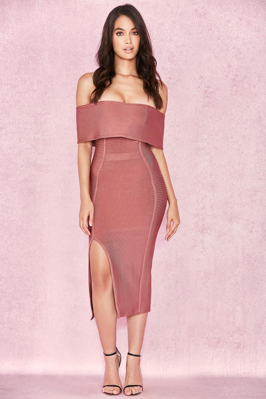 0c9b3ef3b Danae  Vestido de Bandage de Hombro Caído color Rosa Vintage