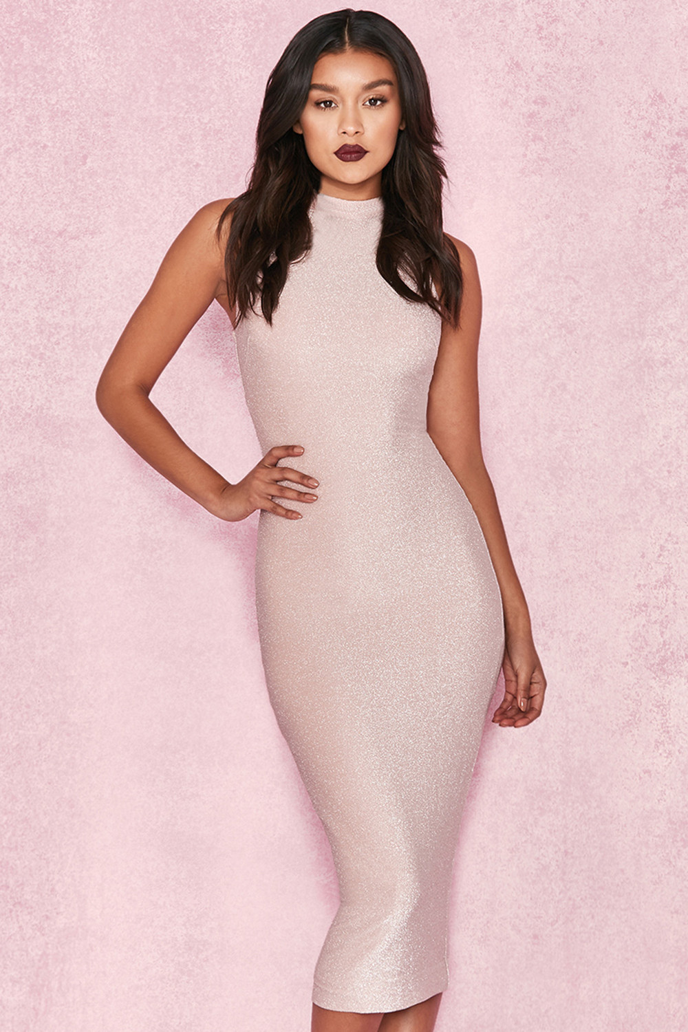 f320671cfa79 Clothing   Bodycon Dresses    Frankie  Pale Pink Lurex Midi Dress