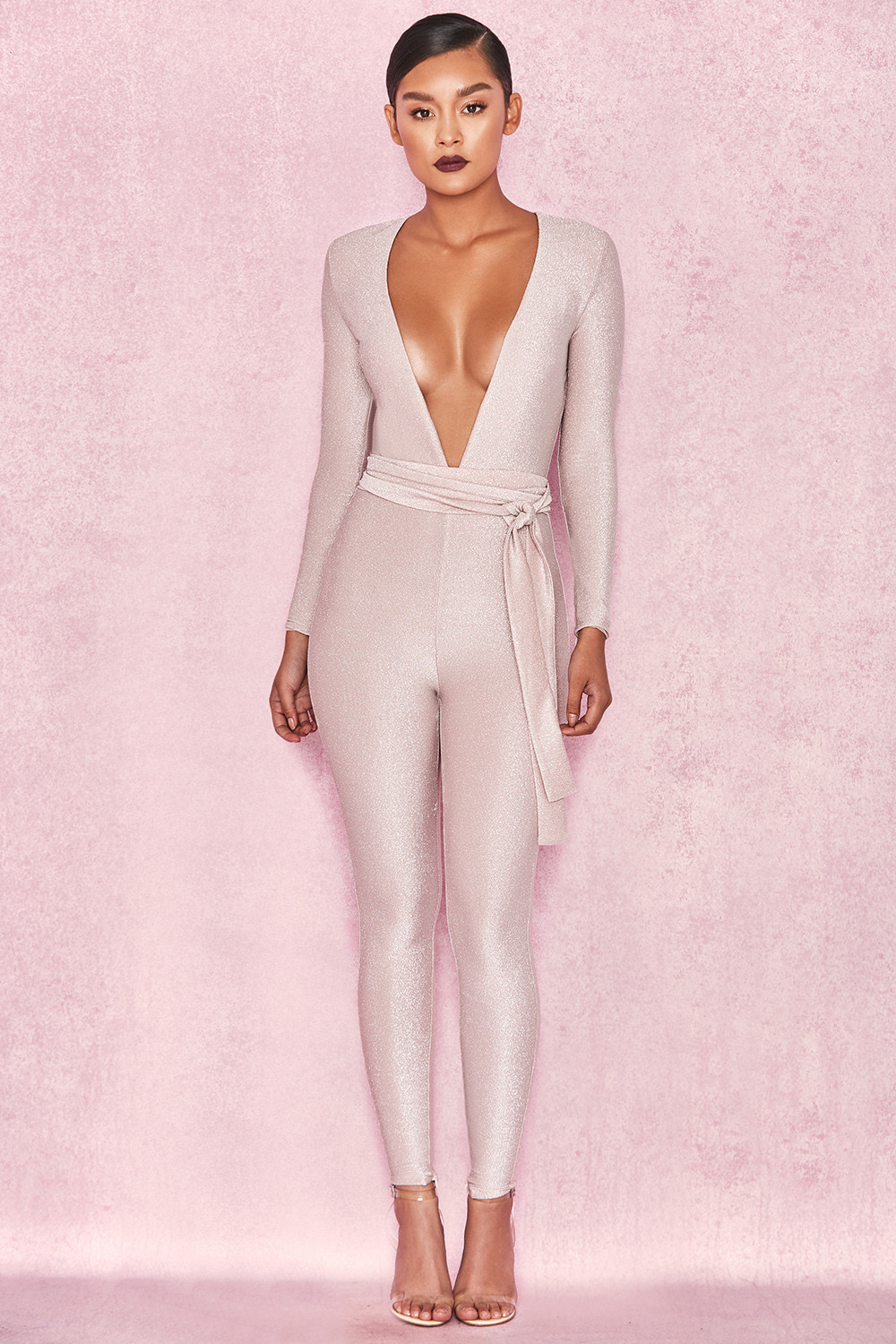 a0f306161a12 Clothing   Jumpsuits    Kalila  Pale Pink Lurex Long Sleeved Jumpsuit