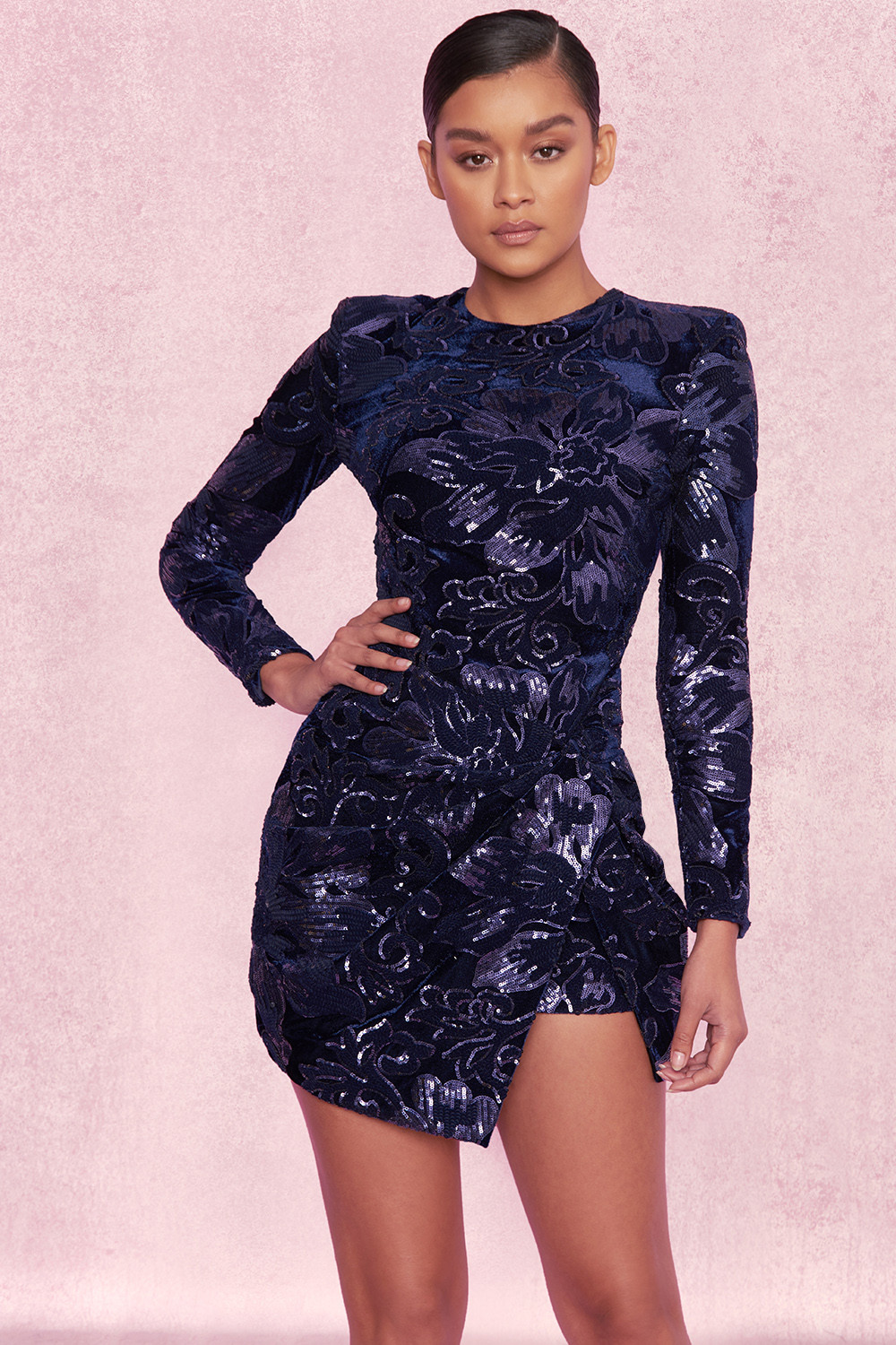 6ccc9f657e79a Clothing : Bodycon Dresses : 'Annora' Purple Embellished Velvet ...