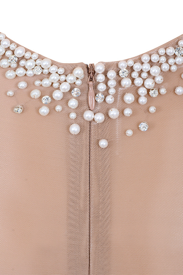 134394579c Clothing   Bodysuits    Carissa  Nude Pearl Hand Embellished Sheer ...
