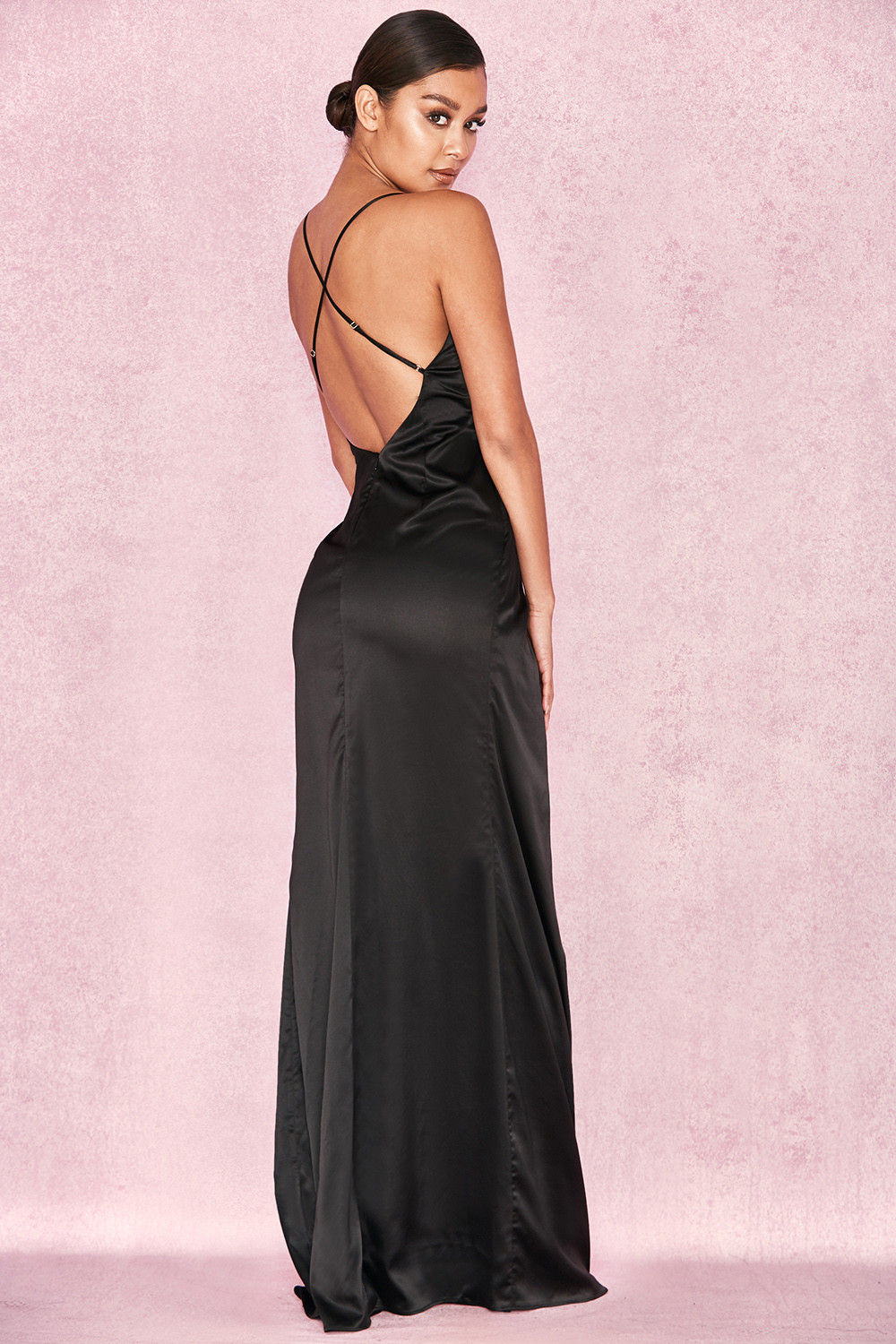 Clothing Max Dresses Fairuz Black Draped Satin Maxi Gown