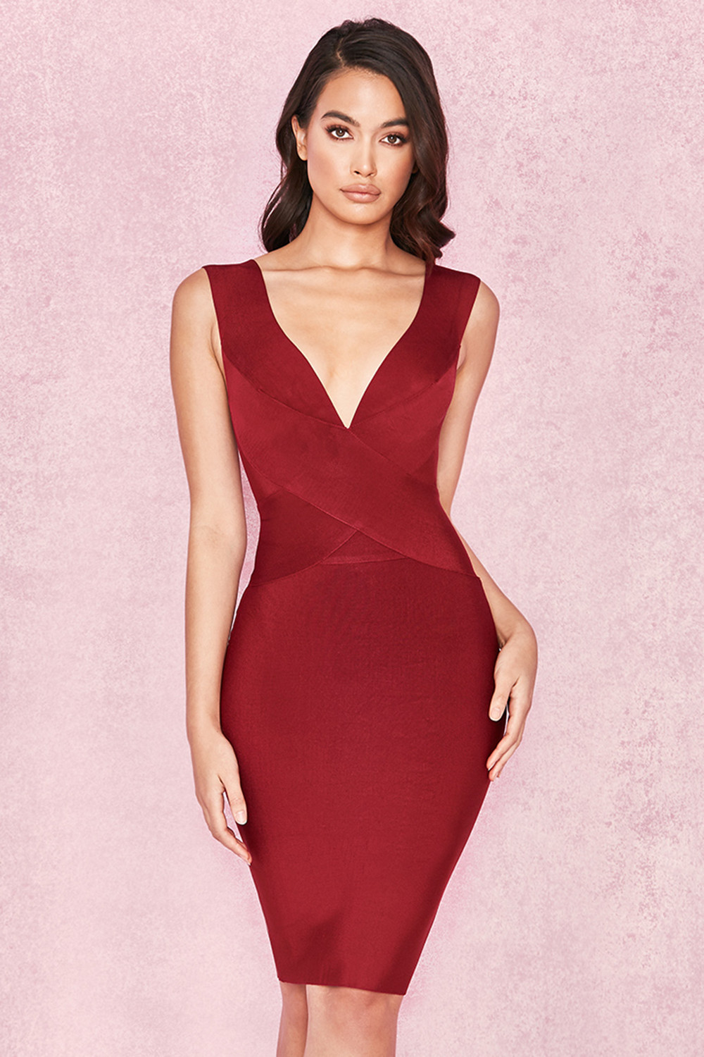 ef4c251bbe65 Clothing   Bandage Dresses    Ginevra  Wine Cross Front Bandage Dress