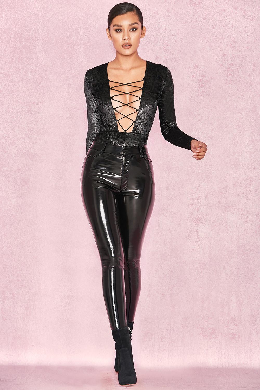 Clothing Bodysuits Lulu Black Amp Gold Velvet Lace Up