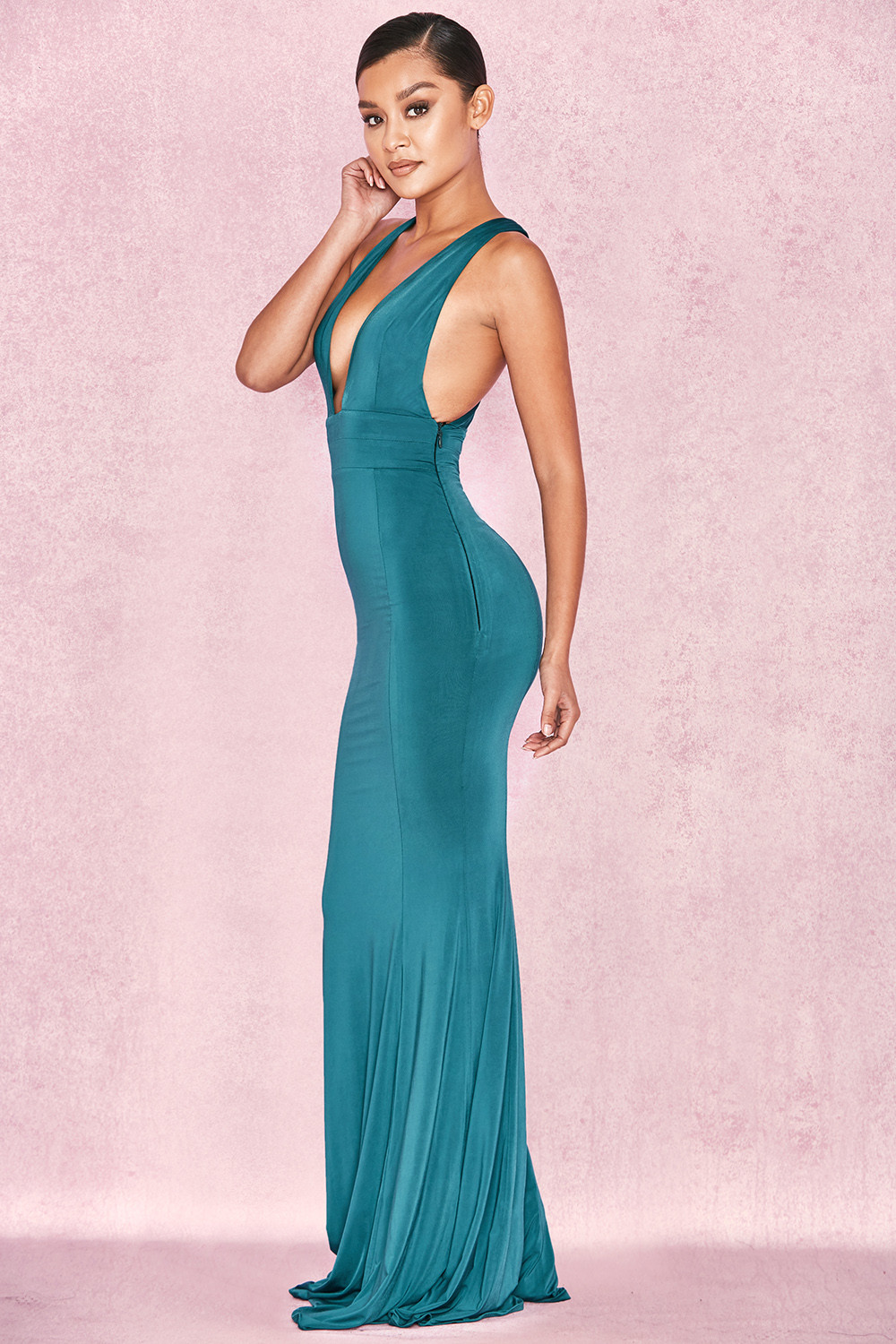 Clothing : Max Dresses : \'Miacova\' Teal Silky Jersey Plunge Maxi Dress