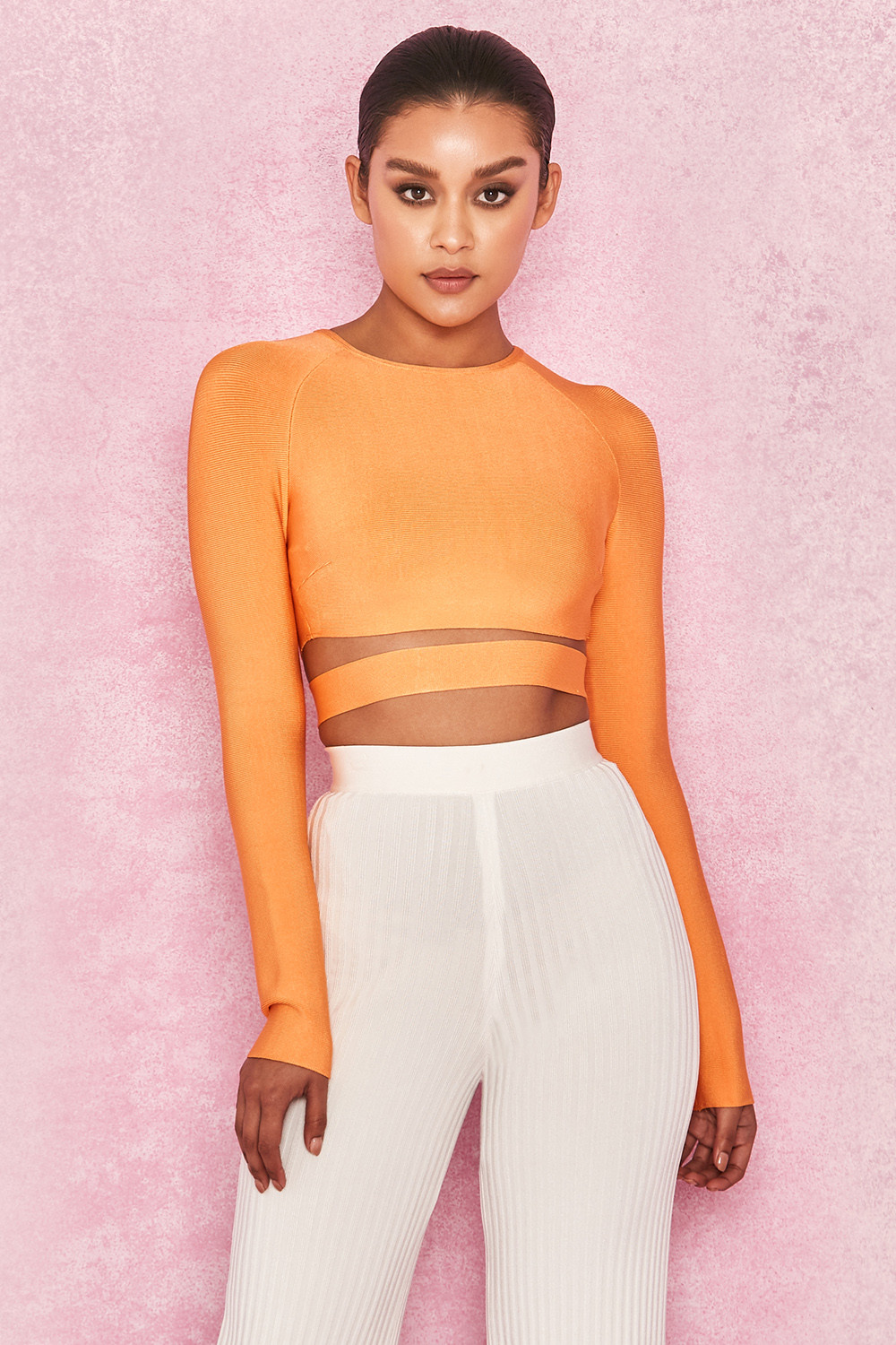 16a930fe3a1 Clothing : Tops : 'Talika' Neon Orange Bandage Crop Top with Waistband