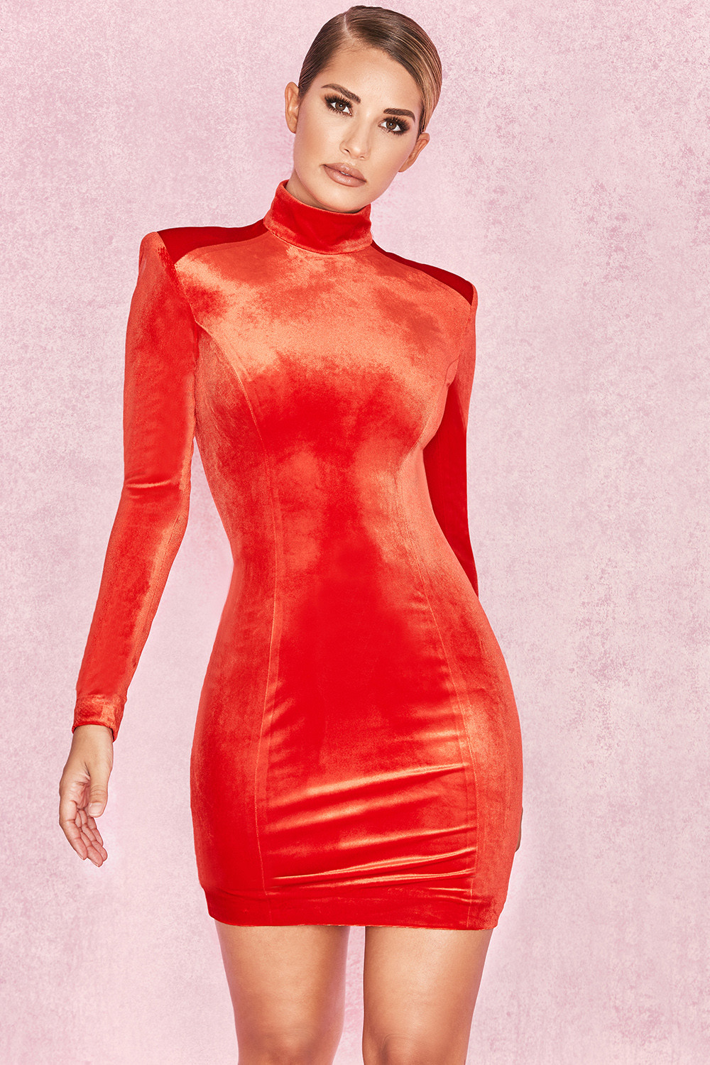 daa2fabe4448 Clothing   Bodycon Dresses    Ysabeau  Orange Red Velvet Long Sleeve ...