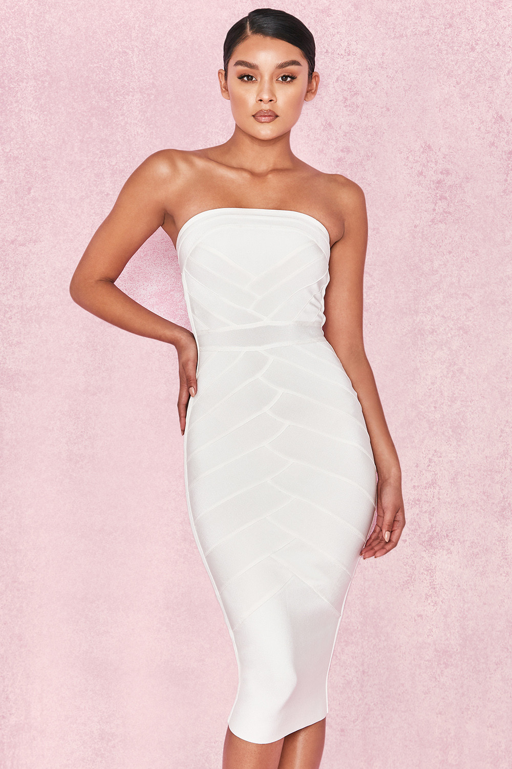 f5acea8f8ad5 Clothing   Bandage Dresses    Amoura  White Strapless Bandage Midi Dress