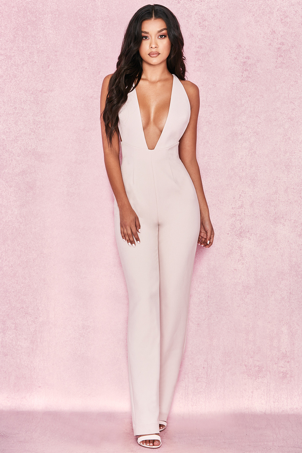 be177ba6bc8 Clothing   Jumpsuits    Analyn  Blush Plunge Jumpsuit