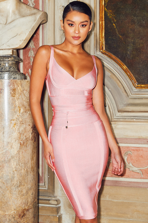 Clothing Bandage Dresses Belice Pink Tie Waist